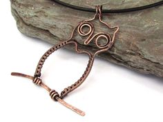 handcrafted owl wireweave pendant, unique present for my friend, gift for bird lover, wirework necklace with leather cord, love of nature by KarenJJewellery on Etsy
