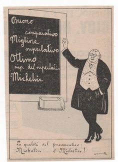 Pubblicità epoca 1923 PNEUMATICI AUTO MICHELIN CAR old advert werbung publicitè