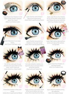 doll eye, make up tutorial, fashion make up, big eyes, visual kei. dolly eye makeup