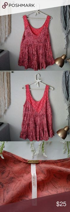 Free People Boho Top Size M Super cute Free People boho style top. Is super flowy and has lace detailing around the neck and straps.  ❤ If you have any questions please leave them in the comments and I'll get back to you as soon as possible.   ❤ Thanks for visiting my closet! Free People Tops