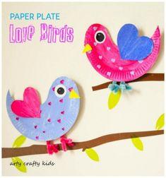 DIY paper plate love birds - spring craft for kids // Papírtányér madár - kreatív tavaszi ötlet gyerekeknek // Mindy - craft tutorial collection // #crafts #DIY #craftTutorial #tutorial