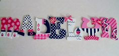 Pink and Navy Nautical/Sailboat-Themed Letters by KraftinMommy on Etsy, $15.00