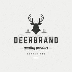 Deer head Design Element in Vintage Style for Logotype — Stock Illustration #83118394