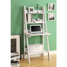 White Ladder Bookcase w/ A Drop-Down Desk - Monarch Specialties multifunctional bookcase-desk offers a compact work space that is ideal for apartments, condos, or small homes. With clean lines in a bold white finish, this desk will blend e Ladder Desk, Bookcase Desk, Bookshelves, Ladder Shelves, Shelf Desk, Wooden Ladder, Bookshelf Design, Computer Shelf, Small Computer