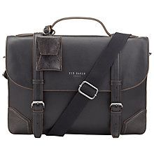 Ted Baker Lextons Leather Contrast Corner Briefcase, Black
