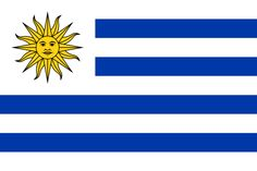 The current flag of Uruguay was officially adopted on July 11, 1830.     The Sun of May has been used as a national symbol since the 19th century. The blue and white colors are modeled after the flag of Argentina, and the nine stripes represent the nine departments within the country.