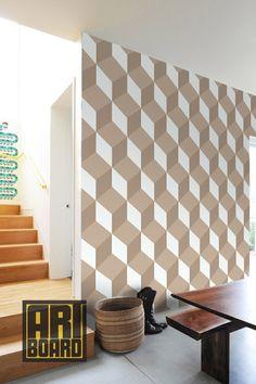 "3D illusion cubes - self adhesive DIY wallpaper, home decor, interior wall art design 20.9""x8' - t015"