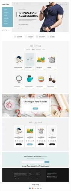 Made By Hand is a clean and modern design #PSDthemes for #handmade, crafts and #gift #store eCommerce website with 14 homepage layouts and 72 layered PSD files to download & live preview click on image or Visit #webdesign