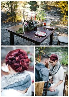 Wedding in the Woods Inspiration | Woodsy Wedding Inspiration | Alternative Bride | LatterDayBride | Gateway Bridal and Prom | Plaid | Maroon | Lace | Lumberjack Inspiration | Outdoor Wedding | Modest Bridal | Tea-length | Cocktail-Length Dress