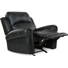 Cobie Gliding Recliner, Quick Ship ($519) ❤ liked on Polyvore featuring home, furniture, chairs, recliners, black, faux leather chairs, black glider, black nailhead chair, nailhead trim chair and black chair