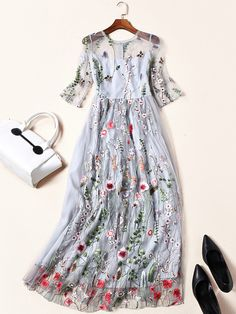 Grey Mesh Paneled Embroidered Floral Midi Dress