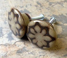 One 1 and 1/8 inch Sand and Brown Geo Star by CabinetCouture