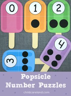 Popsicle number puzzles for number recognition and math skills.