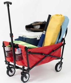 YSC Wagon Garden Folding Utility Shopping Cart,Beach Red >>> Additional details at the pin image, click it : Gardening DIY Cages For Sale, Folding Wagon, Beach Wagon, Mountain Bikes For Sale, Beach Cart, Garden Cart, Steel Frame Construction, Led, Strand