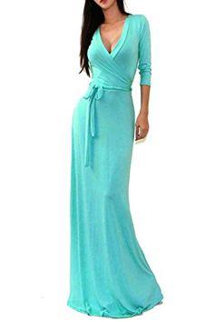 c071dd777f5447 Vivicastle Women s USA Solid V-Neck 3 4 Sleeve Faux Wrap Waist Long Maxi  Dress