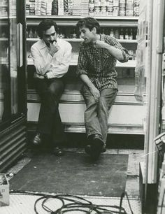 Martin Scorsese and Robert De Niro on the set of Taxi Driver.
