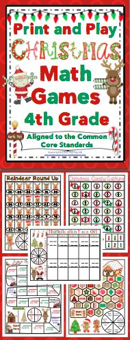 Christmas Math (4th Grade) : No Prep, Print and Play Games and Centers - Your students will have a blast while reviewing important math skills! These no prep activities are aligned to the Common Core Standards, are each 1 page, and are lots of fun! Also available for 3rd grade and 5th grade. $