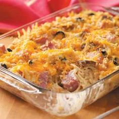 Spaghetti Ham Bake - I made this today to use up leftover Christmas ham. Used homemade whole wheat bread crumbs, peas instead of mushrooms, and omitted the olives!