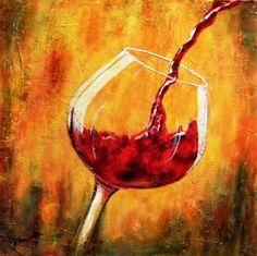 Fine Art by Barbara Janecka: Red wine Wine Wall Art, Wine Art, Pinot Noir, Sauvignon Blanc, Cabernet Sauvignon, Wine Painting, Painting Studio, Wine And Canvas, Modern Art Paintings