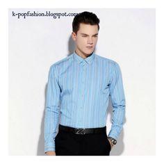 Men long sleeve cotton striped shirt