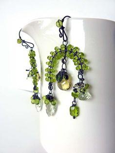 Green Rainforest Earrings Oxidized Sterling by MelanieMiljan, $172.00