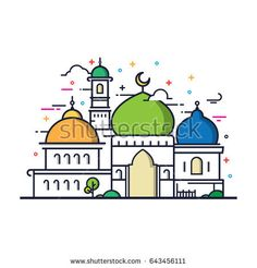 Modern line art Islamic Mosque building. White background, Modern Mosque icon illustration. Mosque Vector, Prayer Position, Islam For Kids, Diy Friendship Bracelets Patterns, Easy Drawings, Royalty Free Photos, Ramadan, Line Art, Vector Art