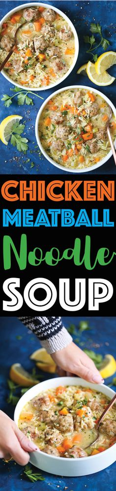 Chicken Meatball Noodle Soup - This is just like everyone's favorite cozy comforting homemade chicken noodle soup except made even better with chicken meatballs! You'll only want this version of chicken noodle soup after trying this! Soup Recipes, Dinner Recipes, Cooking Recipes, Healthy Recipes, Chicken Recipes, Sweets Recipes, Chili Recipes, Quick Recipes, Turkey Recipes