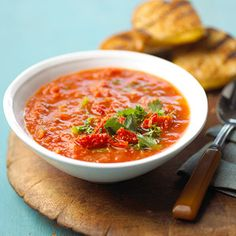 Try this chunky tomato soup that includes celery and onion in a time-honored comfort food recipe.