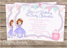 SofiaTea Party Invitation, Princess Sofia Invitation, Custom Printable, DIY, Sofia the First Tea Party Invitation,  You Choose the design