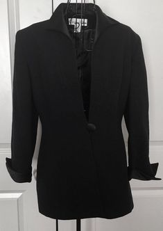 Vintage Christian Dior Wool Satin Jacket Blazer Lined Black Fiitted Size 6 #ChristianDior
