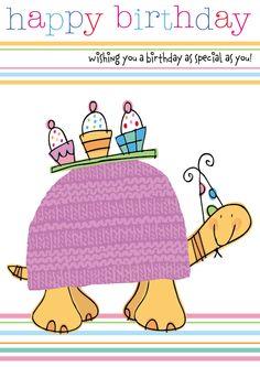 Tortoise Birthday Illustration