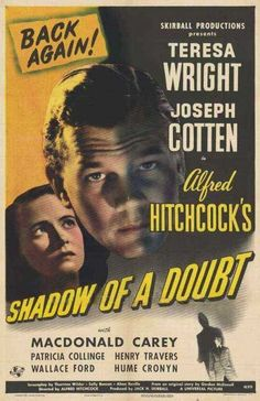 "Movie poster, ""Shadow of a Doubt"", starring Teresa Wright and Joseph Cotten"