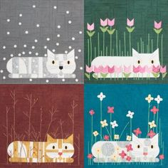 Seasonal Cats - Set of 4 (Edie) - Click Image to Close Cat Quilt Patterns, Cross Stitch Patterns, Quilted Wall Hangings, Barn Quilts, Mini Quilts, Cat Design, Hanging Wall Art, Four Seasons, Art Lessons