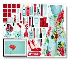 """Too Much Red And Blue"" by angelstylee ❤ liked on Polyvore featuring Trina Turk, Disney, Christian Louboutin, Ted Baker, Elizabeth Arden, Marc Jacobs, Jouer, Clinique, Stila and La Prairie"