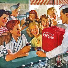 Detail Of Coca-Cola Home-Town Club Kids Coke - Coca-Cola is more than a brand or a logo. It's a part of American culture - for some people attitude to life and lifestyle. The Mad Men Art Collection presents more than 200 vintage Coke ads. Pin Ups Vintage, Vintage Coke, Vintage Signs, Coke Ad, Coca Cola Ad, Pepsi, Vintage Pictures, Vintage Images, Vintage Posters