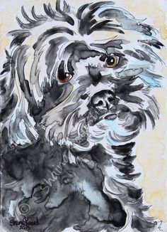 CUSTOM PAINTINGS / MIXED MEDIA SKETCH ON YUPO PAPER / PETS / PORTRAITS / DOGS by Shaina Kay Stinard - Artist. www.shainastinardartist.com Making your photo a work of art! 'Ziggy My Love' - 5 x 7 watercolor with pen and ink. #SecondChances #artbook #Kickstarter
