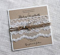 25 invitation sets  Rustic Kraft Lace Wedding Invitation, Shabby chic The perfect mix of rustic lace and elegance! The lace wedding invitation is printed on eco kraft cardstock and layered on off white , and wrapped with a vintage rustic lace belly band, and tied with burlap jute twine with pearl accent. Coordinating items such as programs, place cards, menus and more also available.   THIS IS THE DEPOSIT TO START THE ORDERING PROCESS AND GOES TOWARDS THE ORDER TOTAL  -------- WHAT IS…