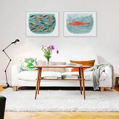 Cheap Moderna Acuarela Mar Pecera Arte Cartel Impresiones de Animales de Dibujos…