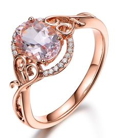 Vintage 1 Carat Morganite and Diamond Engagement Ring in Rose Gold ...