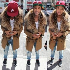 Dope Men Fashion Fur Collar Trench Camel Coat Denim Jeans SnapBack Swag Fashion Style Trend