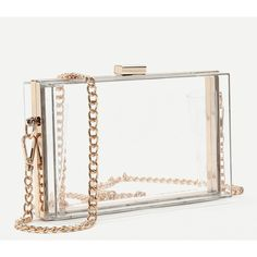 SheIn(sheinside) Clear Chain Clutch Bag ($23) ❤ liked on Polyvore featuring bags, handbags, clutches, clear crossbody, clear crossbody purse, white crossbody purse, clear clutches and white clutches