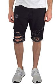 enslaved The Ripped Jean Shorts in Black
