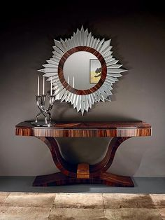 1930s Art Deco Luna Console Entry table and mirror - Art Deco Furniture - http://www.taylorllorentefurniture.com/console_table_console_designer_848.htm