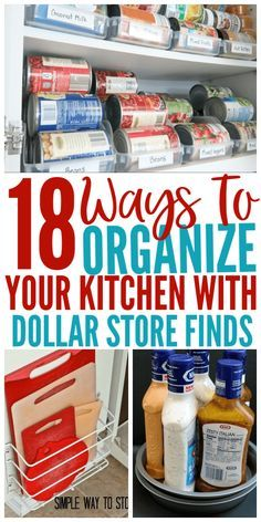 18 Genius Kitchen Organizing Ideas From The Dollar Store - Organization Obsesssed Organize your entire kitchen with just one trip to the dollar store! These Dollar Store organization ideas will declutter your kitchen and save you a ton of money! Kitchen Organization Pantry, Diy Kitchen Storage, Kitchen Pantry, Kitchen Ideas, Craft Storage, Kitchen Organizers, Pantry Storage, Diy Kitchen Organization Ideas Budget, Kitchen Without Pantry