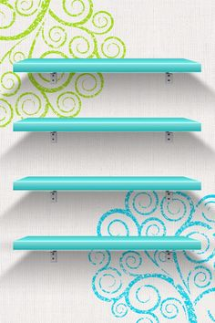 colorful swirls spirals mehndi henna blue white green happy apple homescreen background shelves