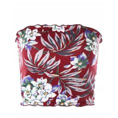 Floral Hawaiian Tube Top ($10) ❤ liked on Polyvore featuring tops, hawaiian print tops, red tube top, tube top, red floral top and floral tops