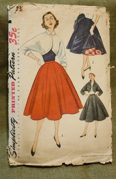 Simplicity 3773 Vintage 1960s Bolero and Poodle Skirt Sewing Pattern Size 12 Bust 30. $6.00, via Etsy.