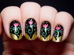 Anna Inspired Frozen Nail Art