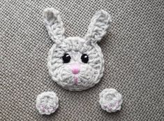 Rabbit Applique Crochet Bunny Crochet Stitched on Applique Applique Handmade Animal Pattern Crafts Forest Animals White Rabbit Applique Crochet Bear Hat, Bunny Crochet, Crochet Mignon, Crochet Frog, Cute Crochet, Crochet Animals, Knitted Hats, Frog Crafts, Hat And Scarf Sets