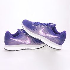 Purple Swarovski Nikes - Nike Air Zoom Pegasus 34 Custom Hand Jeweled with  Swarovski Crystals - Bling Nike Shoes - Women s Nike Shoes a4d590ce0